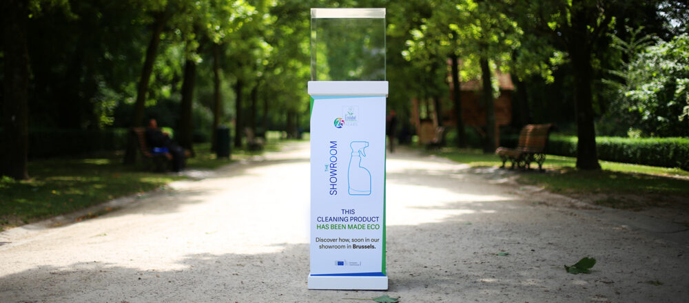 """""""This cleaning product has been made eco"""" - image from the EU Ecolabel 25 years campaign in 2017"""